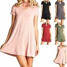 Solid Mock Neck Short Sleeve Flare Dress with Front Keyhole Casual Cute S M L