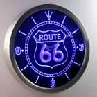 Route66 Logo Neon Sign LED Wall Clock 100% Satisfaction Guarantee blue,red,green