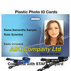 Plastic photo ID card | Printed STAFF lanyard Black, Red, Green or Blue
