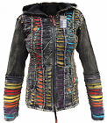 Hippie Jacket Psychedelic Slashed Cotton Ribs Rainbow Funky Elf Pointed Hoodie