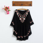 Women's Plus V-neck Floral Embroidery Short Sleeve Shirt Blouse Top B CA