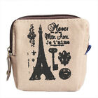 Classic Vintage Canvas Tower Purse Card Key Coin Bag Case Pouch Girl