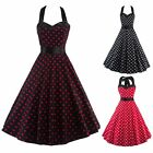 New Womens Vintage Retro Style Polka Dot Housewife Backless Halter Dress