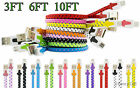 Braided Flat Tangleless Micro USB Charger Cable Cord Sync For New Cell Phone
