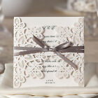Laser Cut Wedding Invitations Kits White Personalized with Envelope Seal Ribbon
