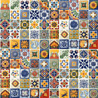 SET #005) WITH 100 4x4 MEXICAN CERAMIC HANDMADE TILES WALL FLOOR USE DECORATIVE