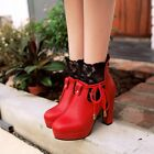 Fashion Womens Lace Ankle Boots Zipper Platform Block High Heel Lady Winter Shoe
