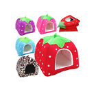 5 Sizes Pet Dog Cat Bed Warm Cushion House Strawberry Kennel Doggy Soft Bed New