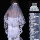 New 2 Layer Wihte/Ivory Elbow Length Lace Sequin Wedding Bridal Veil With Comb