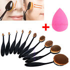 10/5Pcs Oval Cream Puff Cosmetic Toothbrush Shaped Makeup Foundation Brushes Set