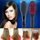 Pro LCD Hair Straightener Styling Brush Comb Electric Fast Hair Straight Brush