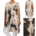 Plus Size-Tie Dye Short Sleeve High Low Hem Top with Back Slit Detail XL 1XL 2XL