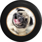 Smiling Pug Dog Cute Pet Jeep RV Camper Spare Tire Cover