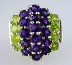 Natural Round African Amethyst and Round Peridot Ring .925 SS Silver