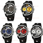 OHSEN 50mm Military Army Sport Dual Time Zone Digital Analog Mens Watch Quartz