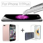 For Apple iPhone 7 & 7 Plus Ultra Thin Clear TPU Gel Case Cover & Tempered Glass