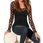 New Fashion Women Long Sleeve Polka Dot T-shirt Casual Lace Blouse Tops Shirt