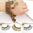 New Women Hollow Carved Coin Multilayer Tassel Bracelet Cuff Bangle Jewelry
