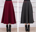 New Ladies Retro Womens Slim Thick wool pleated Long MAXI A-line Skirts Size