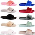 WOMENS LADIES SLIP ON FLAT FARRAH RUBBER SLIDDER MULES FUR SLIPPER SANDALS SHOES