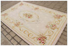 Pastel Aubusson Area Rug LIGHT GREY GRAY w GOLD PINK Wool French Rose Carpet
