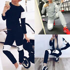 Women Fashion Letter Printed O Neck Long Pants Two Piece Pullover Outfits Suits