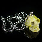 Carved Skull Reiki Chakra Natural Energy Stone Crystal Healing Pendant Necklace