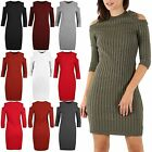 Womens Ladies Rib Knitted Cold Cut Out Shoulder Long Sleeve Bodycon Midi Dress