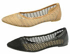 LADIES SPOT ON MESH BALLERINA SHOE AVAILABLE IN BLACK & CAMEL STYLE - F80142