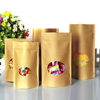 Stand Up Kraft Paper Package Bags With Round Window Food Grade Pouches
