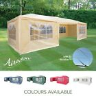 AirWave 9m x 3m Party Tent Gazebo 3 FREE WINDBARS Water Resistant, 8 Sides