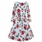 Vintage Style Women Floral Printed 50'S 60'S Long Sleeve Cocktail Party Dress
