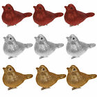 Christmas Decoration 3 Pack 8cm Clip on Glitter Birds - Choose Colour