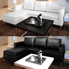 Artificial Leather Sectional Sofa Configurable Chaise Lounge Couch White Black