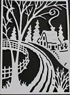 4 Cottage Cutz 'Winter Cottage Scene' die-cuts on a choice of colours