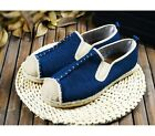 Beige Blue US Size 5-11 Retro Comfort Canvas Mens Casual Slip On Loafer Shoes