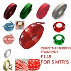 Christmas Ribbon 5Mtr Lengths Snowman Merry Christmas, Tree, Berry, Xmas Ribbon
