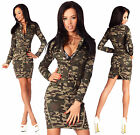 Sexy New Womens Denim Army Military Jeans Mini  Dress Long Sleeve  H 668