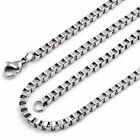 "1.5MM Stainless Steel Silver Box Chain Necklace in 16"" 18"" 20"" inches Italian"