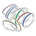 925 Sterling Silver Cubic Zirconia Multi Color Stackable CZ Wedding Bands Rings