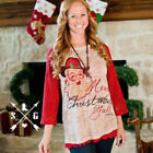 WOMEN CHRISTMAS TOPS BLOUSE CASUAL T-SHIRT COAT LACE SLEEVE CREW NECK SHIRT S-XL