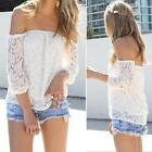 Women Sexy Lace Off-Shoulder Long Sleeve Hollow Floral Blouse Tops