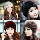 POP Women Genuine Real mink fur ski Beanie Knit hat cap head warmer headgear