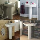Bathroom Cloakroom Modern Full Pedestal White Ceramic Wash Basin Sink Bowl