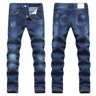 New Mens Italy Style Distressed *Scratches Slim Pants Blue JEANS Trousers D1416T