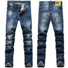 New Mens Italy Style Vintage Oiled Painted Slim Pants BLUE JEANS Trousers D1362T