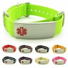 IDtagged Adjustable Nylon Medical Alert ID Bracelet with Stainless Steel Tag