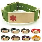 epilepsy color - IDtagged Adjustable Nylon Medical Alert ID Bracelet, Gold Color Stainless Steel