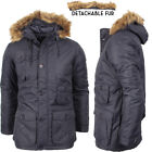 Mens Parka Jacket Coat Padded Detatchable Faux Fur Trim Winter Parker Jacket