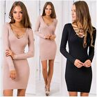 Fashion V-neck Sweater Dress Casual Women Loose Long Sleeve Dress Winter Hot